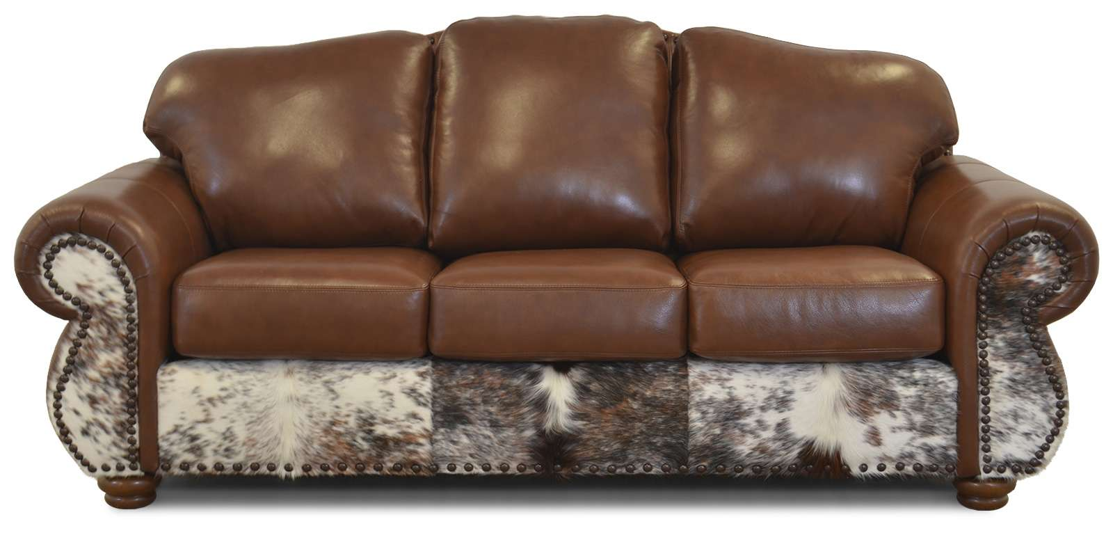 Vintage Leather Furniture Manufacturing Made in the USA old west rustic seating Tahoka sofa photo. Hair on Hide Leather furniture manufactured in the USA.