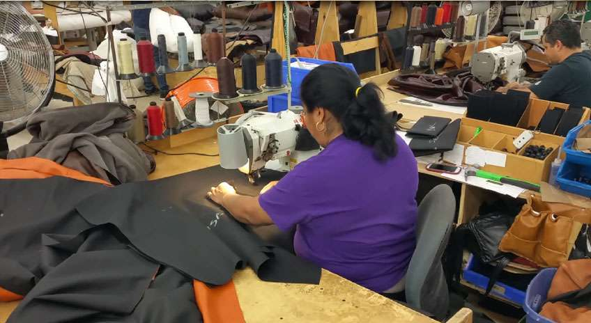 Sewing in the USA at our furniture factory photo